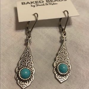 BAKED BEADS Earrings Silver Turquoise color NEW